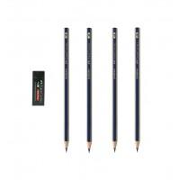 بسته 4 عددی مداد طراحی فابرکاستل + پاک کن